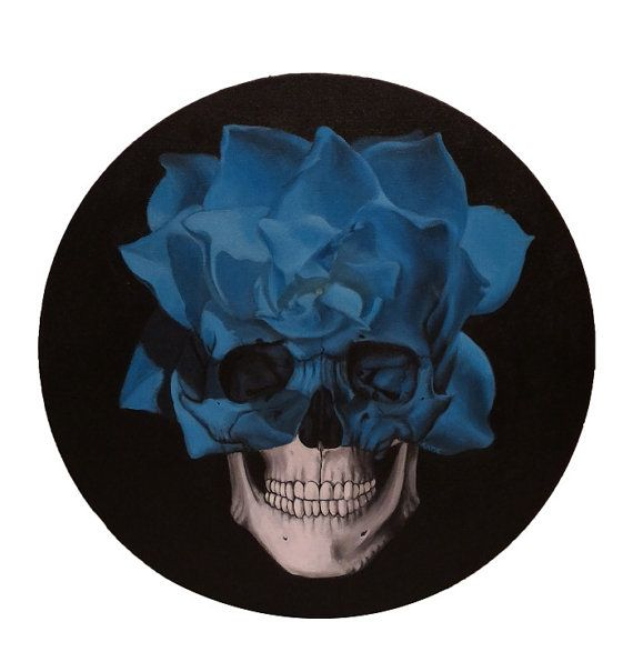 Title: Blue Flower Skull Medium: Acrylic on circular canvas Size: 16 diameter (1 inch thick)
