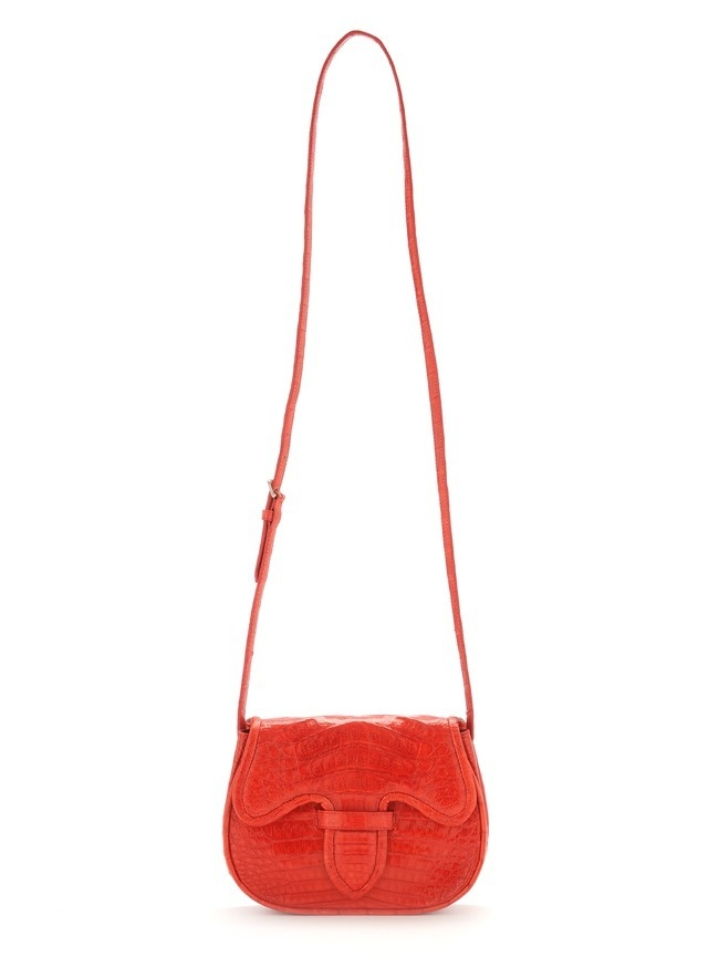 Cute red crocodile leather mini crossbody bag