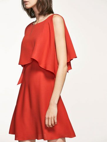 Autumn winter 2016 Women´s LAYERED DETAIL RED DRESS at Massimo Dutti for 140. Effortless elegance!