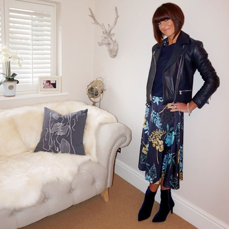 My midlife fashion, massimo dutti navy blue leather biker jacket, marks and spencer pure cashmere round neck jumper, marks and spencer stiletto side zip ankle boots, marks and spencer floral print long sleeve maxi dress