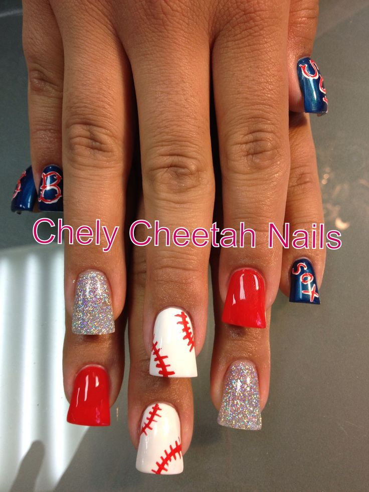 Chely Cheetah Nails. Acrylic Nails. Boston Red Socks nail art. Duck feet.