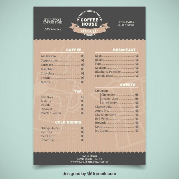Elegant Coffee Shop Menu Template Modelos De Menu Cardapio De