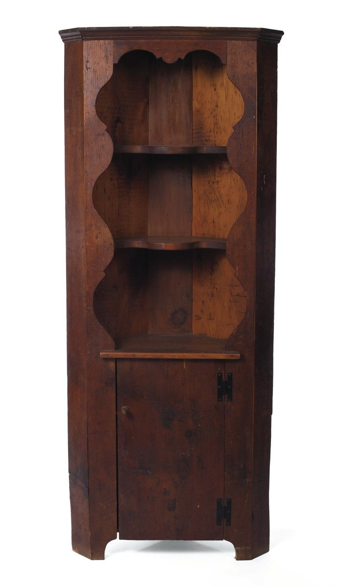 Pine One Piece Corner Cupboard