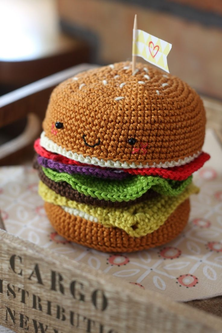 Crochet hamburger - perfect toy for kids!
