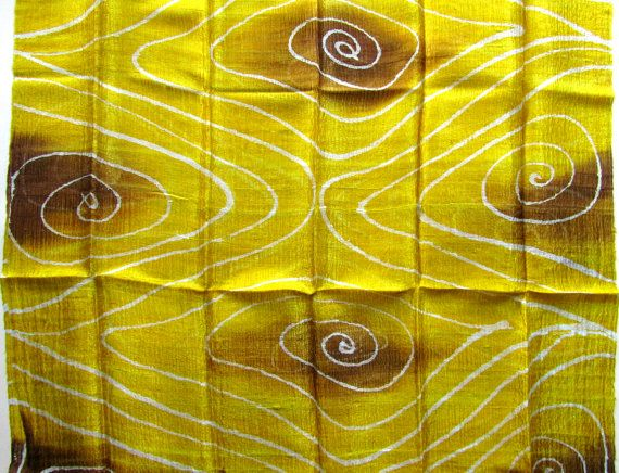 Silk shawl-Raw silk-Handwoven-Hand dyed-Batik silk-Thai silk-Natural silk-Handmade silk shawl-Yellow toned silk shawl-Light weight shawl-Wedding gift-Wedding accessories-Silk accessories. They are quite sensitive so they need hand wash with a product for silk or wool. They need light ironing that makes them shine or you can twist a bit and let dry for an every day look.