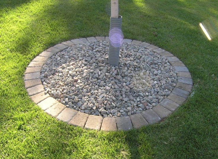 Paver tree ring outdoor spaces pinterest tree rings for Gravel path edging ideas
