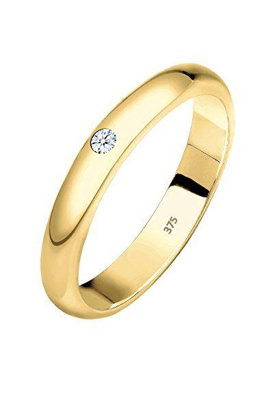 ELLI PREMIUM Fede da donna, modello classico, oro giallo 375 con diamante (0.03 ct) taglio brillante bianco - 0612312614, Oro giallo, 16, cod. 0612312614_56