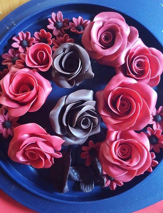 Rose cioccolato plastico