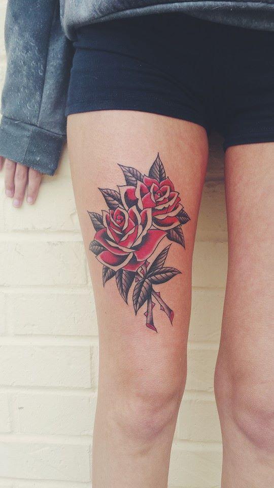 Beautiful Roses Thigh Tat http://tattoos-ideas.net/beautiful-roses-thigh-tat/
