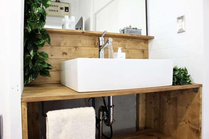 Diyで洗面化粧台を交換 洗面ボウルでおしゃれな洗面台を自作して洗面所をリフォーム Diy Magazine 洗面台 洗面所 洗面化粧台