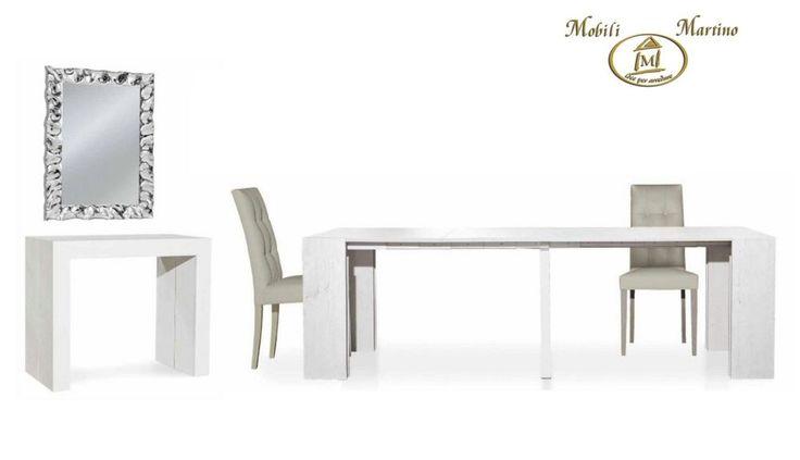 Tavolo consolle allungabile fino 2,95 metri bianco consumato moderno legno 669