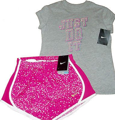 BIG GIRLS NIKE OUTFIT 2 PIECE T-SHIRT SHORTS ATHLETIC YOUTH TEENS TEE 10 12 14