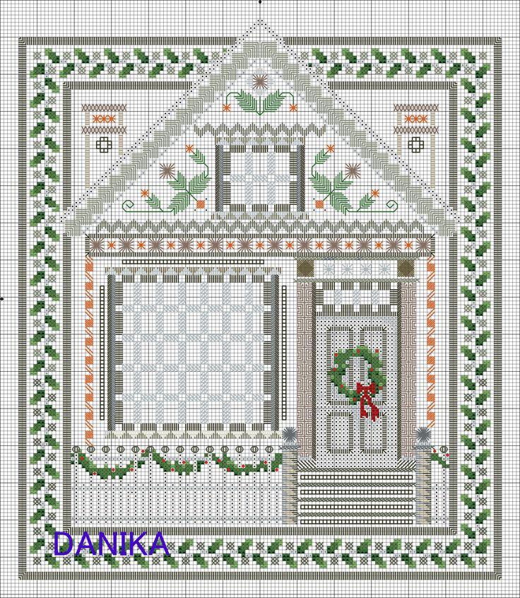 Рождественский домик, хардангер, 5 этап. / Вышивка / Хардангер