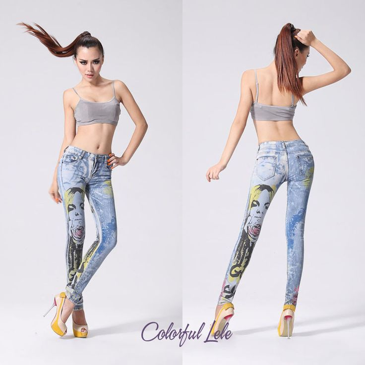 Cheap jeans leggins, Buy Quality jeans hangtag directly from China jean button Suppliers: Women's jeans 2014 New Spring summer designer brand slim fit women vintage floral Pencil Skinny jeans Mid 3D Paint color