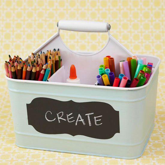 Great idea to keep all pens, crayons, colouring pens, etc in the same place and is portable too!