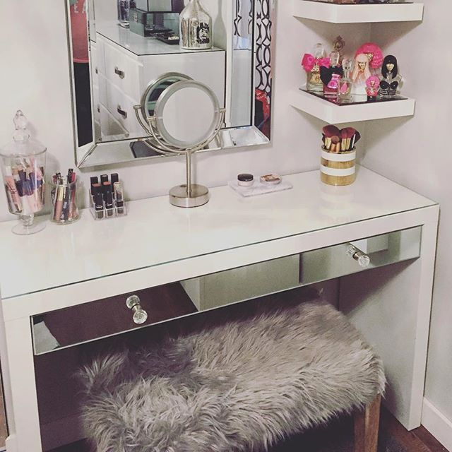 @ninabella87 ・・・ I wanted to share this picture of my IKEA Malm dressing table I hacked at the beginning of January. I added the mirror onto the drawer front and added 2 crystal knobs for extra glam and to match my IKEA hacked mirrored side tables. Such a simple change but makes such the difference on this piece of furniture! LOVE IT