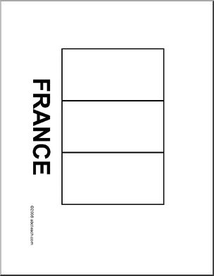 Flag: France - Blackline flag of France.