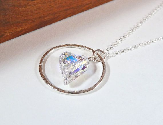Swarovski Heart Pendant  Silver Circle by BeauBellaJewellery #Swarovski #necklace #valentinesgift