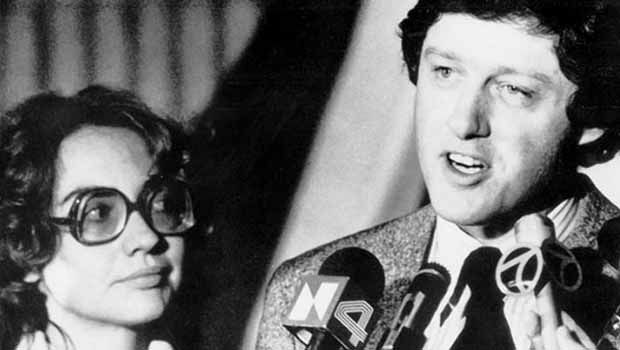 Bill Clinton was elected governor of Arkansas in 1978. Here he is with his wife, now Democratic nominee for President of the U.S., by his side at a news conference. What a classic photo!