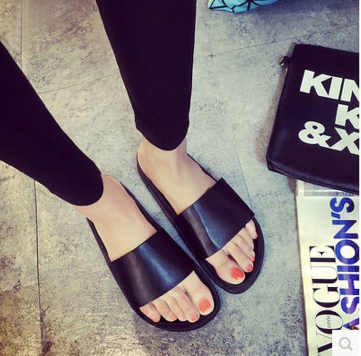Aima Бренд Скольжения На Мода Повседневная Квартира С Платформы Сплошной Черный Пляж Обувь Сандалии Женщина Известный Дизайнер Сандалии Для Женщин купить на AliExpress