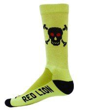 Skull Crew Sock (Neon Green, Medium) by Red Lion. $13.98. 77% Acrylic, 14% Nylon, 5% Polyester, 4% Spandex. Increased Air Flow Ventilation. Ultra Soft Acrylic Body Construction. Made in the USA. Stretch Filament Mesh Top. Bones High Tech Crew Socks (4 Colors). High Tech Crew Socks with Knit-In Skull Logo. Small fits a Youth shoe size of 12-4. Medium/Large fits a Ladie's shoe size of 5-12, Men's shoe size of 4.5-11.