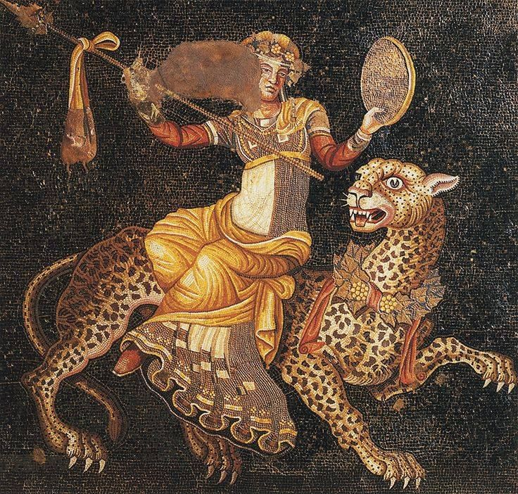 Mosaic of Dionysus riding a Leopard c.180 CE. House of Masks, Delos, Greece