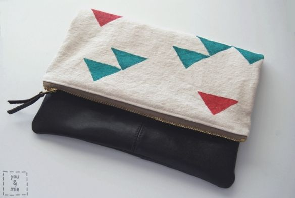 DIY Foldover Faux Leather Clutch with Hand Printed Top