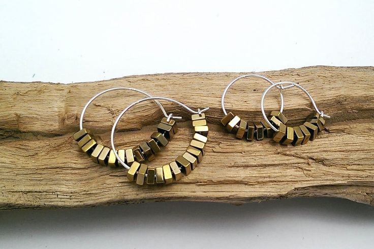 Gold cube hoops - small