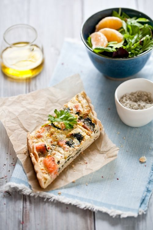 Salmon and Swiss Chard Quiche | a lifetime on the hips - | Pinterest