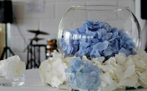 Centrotavola ortensie bianche e blu
