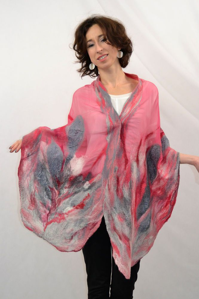 Large shawl Nuno felted rouge silk merino wool Handmade stunning silk dress eco #Handmade #LongScarf #everydaypartyweddingcelebration