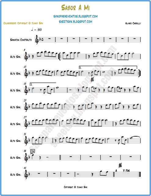 Partitura y pista de Sabor a mi (Kenny g, Luis miguel, Álvaro Carrillo) Partitura de boleros para tu instrumento de viento o cuerda | Partituras y pistas para saxo | Sheet music and Play Along for sax