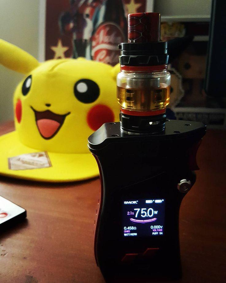 My new #SMOK MAG  vaping my fav blueberry muff #yamato #spacejam featuring my #pikachu hat #nukacola pic & #strangerthings #funko  ohhhh the gamer life . . . . . . . . . . #gamer #forlife #pikachu #pokemon #gamergirl #streamer #vape #quitsmoking #blizzard #overwatch #ibuypower #benq #logitech #goals #dreams #doit #fallout #favs