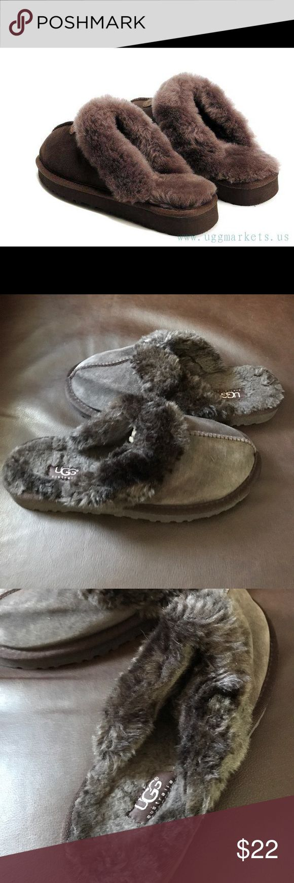 1️⃣HR SALE! Ugg slippers Dark brown Ugg slippers. Barely worn. Top of fur in great condition. Some fur is in decent condition. So let's are in awesome condition no burt and show none/minimal ware. The main part of the shoe is a little flimsy just because they were put away and not worn in awhile. UGG Shoes Slippers