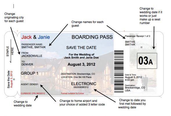 boarding pass invite templates | Boarding Pass Save the Date, a little more realistic : wedding airline ...