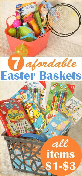 """7 Affordable Gift Baskets.  """"Out of the Box"""" Easter basket ideas. Creative gift baskets on a budget."""
