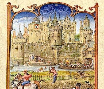 Le fatiche di Ottobre, dettaglio - Breviario Grimani - manoscritto miniato - scuola Gand-Bruges - 1490-1510 - Venezia - Biblioteca Nazionale di San Marco.