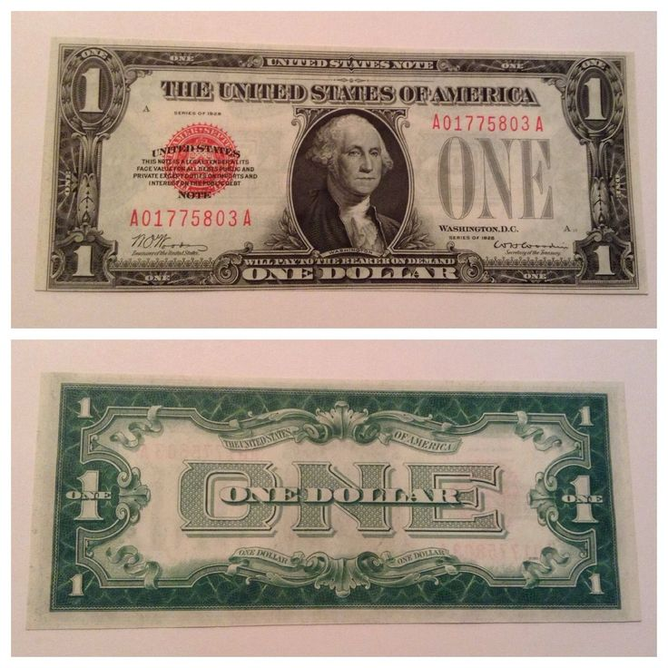 Vintage Uncirculated 1928 $1 Red United States Note One Dollar Legal Tender Unc