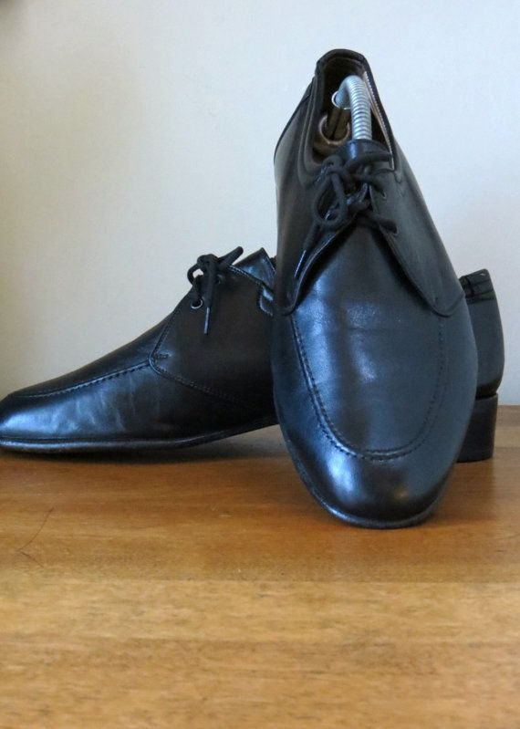 Vintage Italian Mens Classic Black Leather Oxford shoes - Hipster/Madmen/ - Made in Italy - 1980s