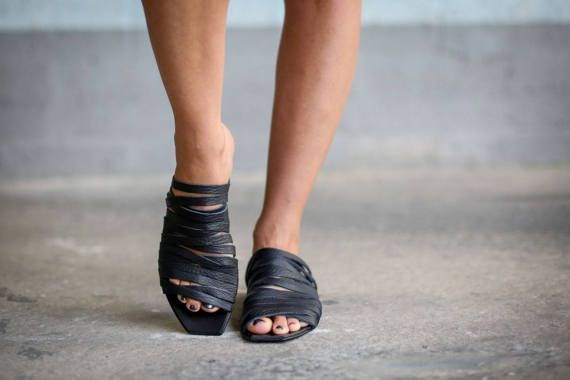 VENDITA Sandali sandali in pelle nera estate scarpe
