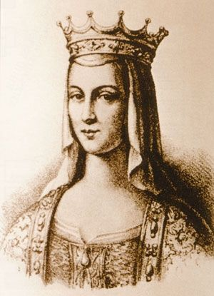 Anna Yaroslavna (c.1024-1089) - daughter of the ancient Russian Grand Prince Yaroslav the Wise (c. 978-1054) and a spouse of the French King Henry I. An old illustration.