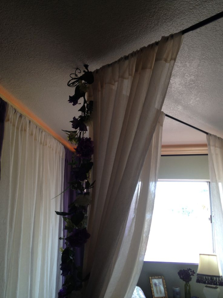 Faux 4 Poster Bed Curtain Rods Suspended From Ceiling