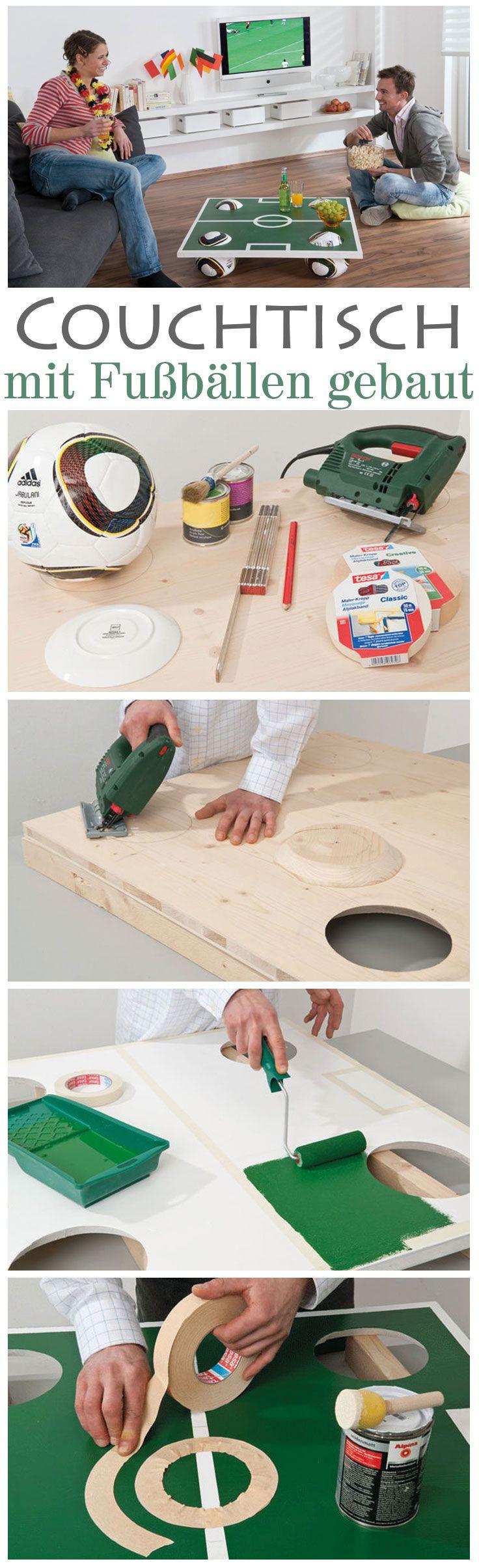 Cooler – und schneller – kann man einen Couchtisch nicht bauen. Passend zur EM kannst du mit vier Fußbällen einen stylischen Tisch für dein Wohnzimmer bauen. Das DIY ist super einfach, das kann wirklich jeder!