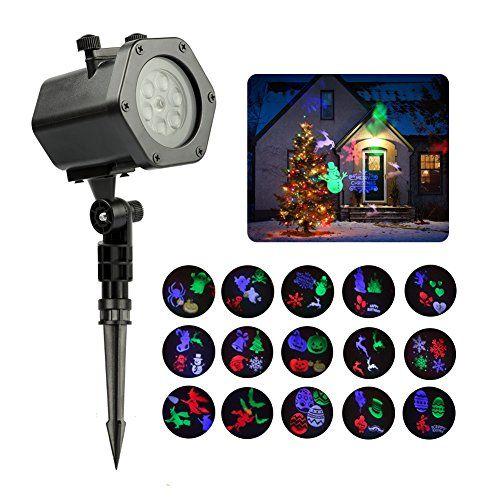 Projecteur LED Exterieur Noël Etanche avec 15 Motifs | Infinitoo Projecteur de Lumière Extérieur et Intérieur | Lampe Décorative Eclairage…