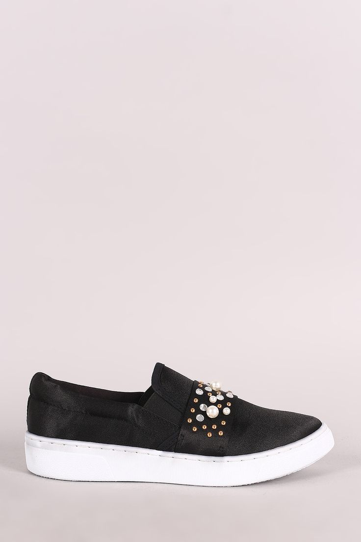 Qupid Satin Faux Jeweled Embellished Slip-On Sneaker