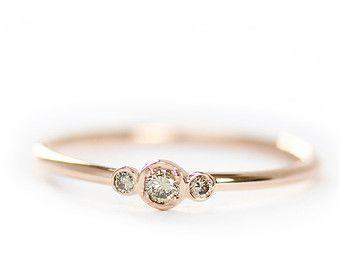 Three Stone Round Brilliant Cut Diamond Engagement by KHIMJEWELRY