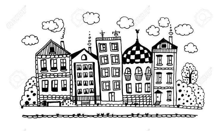 Via Di Divertenti Cottage Incantevoli Con Giardini E Le Nuvole D'inchiostro Grafico Illustrazione Doodle Vettoriale Clipart Royalty-free, Vettori E Illustrator Stock. Image 45350383.