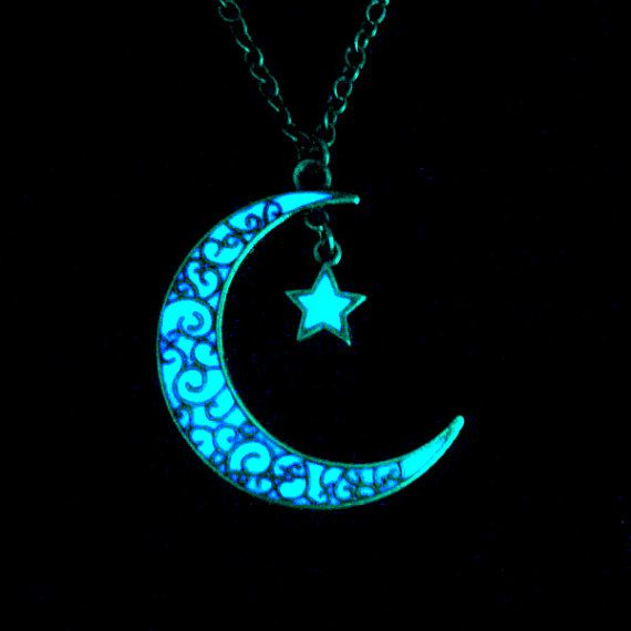 Moon And Star Necklace Glow In The Dark Necklace Glow In The Dark Moon Necklace Jewelry Antique Silver (glows aqua blue)