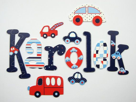 Custom hand painted wooden letters; kids name; baby name; wall letters, letters of wood; kids room decoration; plaid, seams, stripes, cars