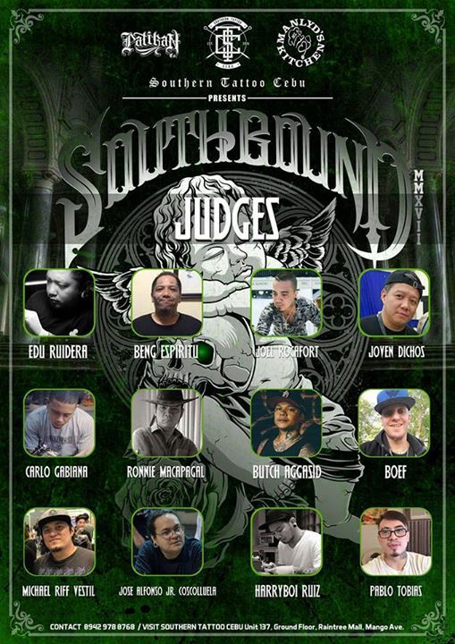 Attention to Detail: Sickest line up of Judges!!! All Star!  Southbound Tattoo Competition. August 13, 2017. Minglanilla Sports Complex.  #Southbound2017 #TattooCompetition #SouthernTattooCebu #ManlydsKitchen #PatikanCo  For more info, contact Renante Herbias 09429780768 or PM us here. #tribaltattoo